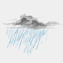 Icon: Drizzle, weather harwen, Pixel: 128 x 128 px