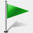 Icon: Flag1 Right Green 2, gis-gps-map icons-land, Pixel: 128 x 128 px