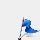Icon: Flag3 Right Blue, gis-gps-map icons-land, Pixel: 128 x 128 px