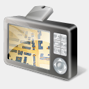 Icon: GPS Device Map, gis-gps-map icons-land, Pixel: 128 x 128 px