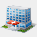 Icon: Hospital, gis-gps-map icons-land, Pixel: 128 x 128 px