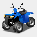 Icon: Quad Bike Blue, transport icons-land, Pixel: 128 x 128 px