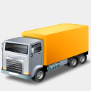 Icon: Truck Yellow, transport icons-land, Pixel: 128 x 128 px