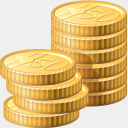 Icon: coins, finance visualpharm, Pixel: 128 x 128 px