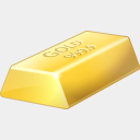 Icon: Gold Bullion, finance visualpharm, Pixel: 128 x 128 px